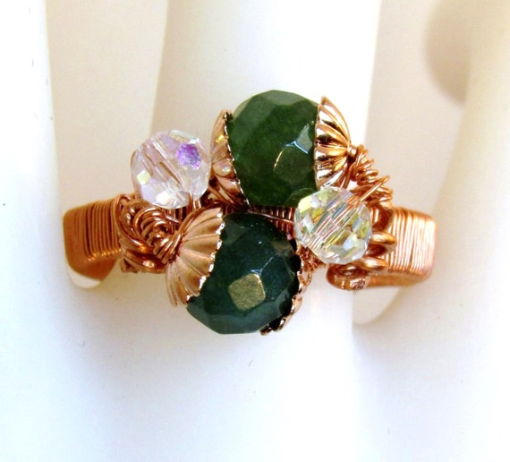 CHRISTMAS SALE Green Jade Ring Natural Copper Swarovski