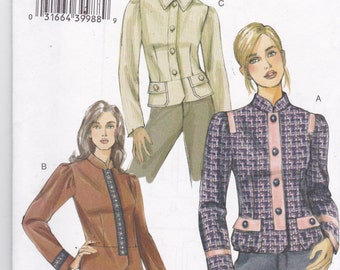 Vogue 8121 Vintage Pattern Womens Close Fitting Lined Jacket in 3 Variations Size 12,14,16 UNCUT