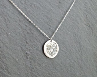 Heart Imprint Necklace/Pendant, fine silver, silver necklace, textured necklace, heart necklace
