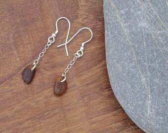 Sea Glass, Beach Glass Drop Earrings, cornish sea glass, cornish beach glass, cornish earrings