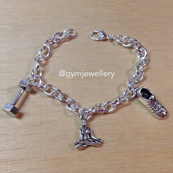 Design Your Own Custom Bangle Charm Bracelet Pick Your Charms: Items Similar To DESIGN YOUR OWN Fitness Bracelet Charm