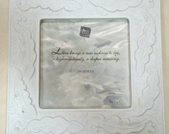 Never Used White Ceramic Wedding Frame Russ Square Feathers 5 x 5 Photo 8 x 8 Overall