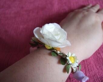 Girls Plaited cord and cream fabric flower bracelet corsage. Weddings, Proms, Festivals, Parties