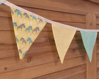 Bunting Flags - Lazy Moose, Lemon & Ice Blue - F1012