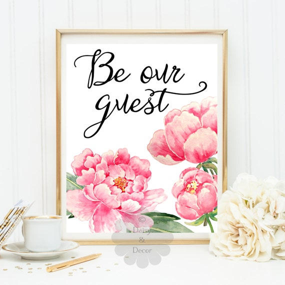 Items Similar To Be Our Guest Typographic Quote Art Print