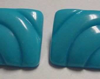 Blue Square Clip Earrings