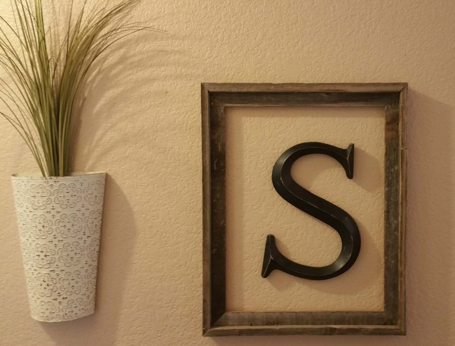 Framed letters large letters for wall rustic by letteredwhimsy for Large letter j for wall