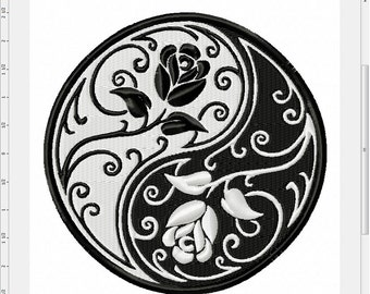 Floral Yin Yang Machine Embroidery Design