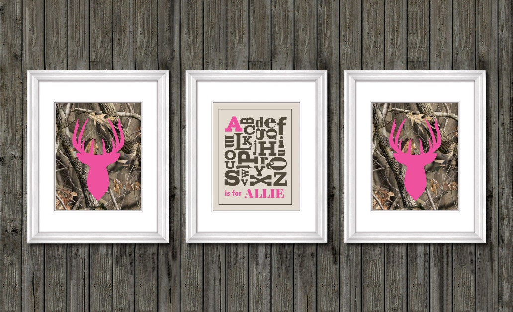 Girls nursery decor pink camo nursery decor personalized for Pink camo decorations