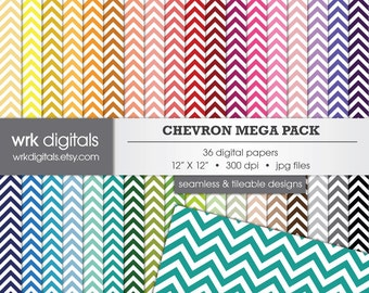 Chevron Mega Pack Seamless Digital Paper Pack, Digital Scrapbooking, Instant Download