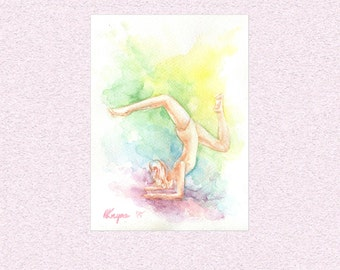 Rainbow Gymnast Watercolor Painting, purple blue green yellow original gymnastics floor exercise art, yoga colorful artwork