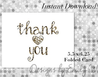 Printable Thank You Card - Thanks - Digital File - Instant Cards - Printable Cards - Leopard Thank You - Instant Download - 5.5x4.25