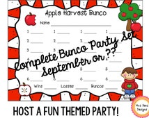Bunco Card Set - September - Score Cards, Table Cards & Numbered Score Cards - 6 pages of Materials