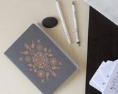 Boho Sketchbook - letterpress Notebook -  ROSE GOLD   - unique paper goods - letterpress print