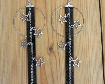 leather earring and stars