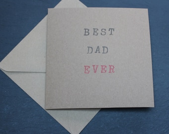 BEST DAD EVER handmade Father's Day card on recycled card