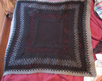 Black and Grey Crochet Blanket