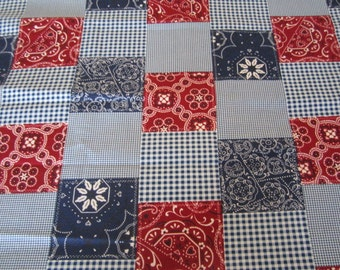 Michael Miller Patriotic Patchwork Fabric Red White Blue Patriotic Fabric Bandana Western theme BTY