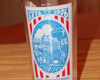 Ohio Bicentennial Glass - Erie Canal and The Railroad