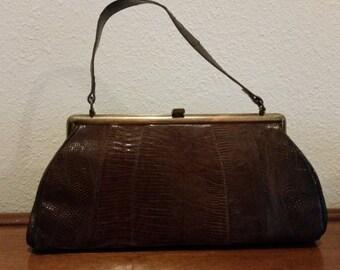 Vintage Mod Brown Alligator Clutch Handbag