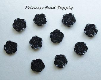 20mm Black Resin Rose Flower Chunky Beads, 20mm Rose Beads, 20mm Flower Beads, Bubble Gum Beads,  Gumball Beads, Acrylic Beads