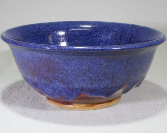 Bright Blue and Red Stoneware Bowl.