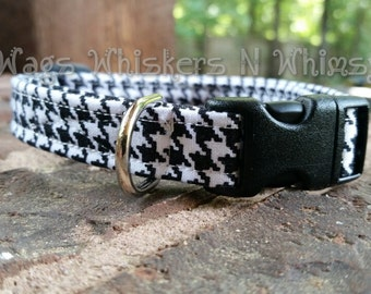 Black and White Houndstooth Dog Collar, Cotton -- All proceeds to animal charity