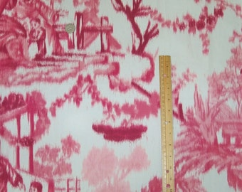 SCHUMACHER Warp CHINOISERIE ASIAN Cathay Toile Fabric 10 yards Peony Rose