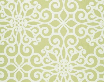SCHUMACHER French Quarters Style  ORNAMENTAL SCROLLWORKS Hand Printed Cotton Toile Fabric 10 yards Chartreuse