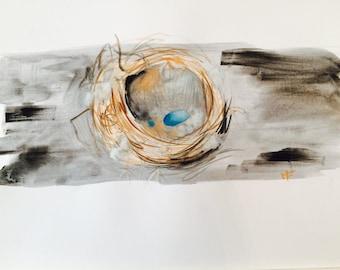 Bird Nest // Original Watercolor // 8.5 by 11 // Blue Eggs // Unique
