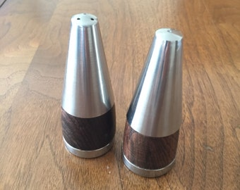 Danish Stainless Steel and Rosewood Salt and Pepper Shakers