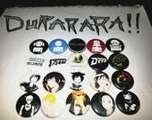 20 one-inch Durarara buttonpins
