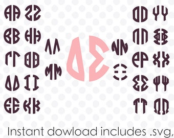 Circle monogram font svg file greek alphabet two letter instant download (.dxf .svg and zipped .studio files) vector cutting files