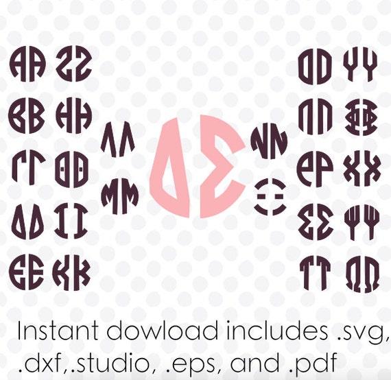 Circle monogram font svg file greek alphabet two letter