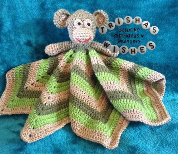 Monkey Lovey Comforter Snuggle Blanket By Trishaswishesuk