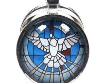 Stained Glass Window Effect Peace Dove Silver Plated Glass Cabochon Keychain