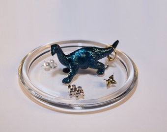 Bright blue with sheen Dino jewellery dish/ring holder