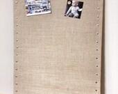 "Huge Burlap Memo Board - 35"" x 23"" PIN Bulletin Board with Hardwood Construction, Brass Tacks and Button Pin Tacks"