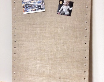 "Huge Burlap Memo Board - 35"" x 23"" PIN Bulletin Board with Hardwood Construction, Brass Tacks and Button Pin Tacks"