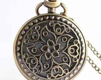 1pcs/ 45mm ,Retro Hollow Flower pocket watch Necklace Chain,Necklace Pendant,craft supply BM-47