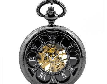 1pcs/ 45mm ,Retro Steampunk Mechanical Black Six Hollow pocket watch Necklace Chain Necklace Pendant,craft supply BM-74