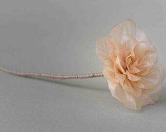 leaf skeleton flower-beige peony
