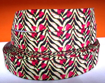 7/8 inch Hot Pink Hearts over Animal Print - Valentine's Day - Printed Grosgrain Ribbon for Hair Bow