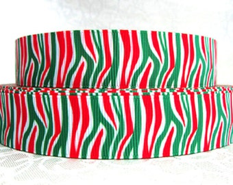 7/8 inch Zebra Animal Print - Red and Green - Christmas (REGULAR) Animal Print - Printed Grosgrain Ribbon for Hair Bow
