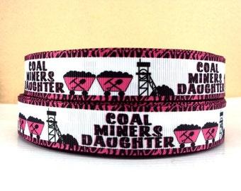 7/8 inch Coal Miners Daughter Printed Grosgrain Ribbon for Hair Bow