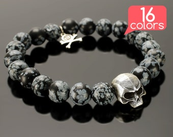 Skull Jewelry - Skull beads bracelet with BIG skull, pendant with crossed bones and 16 colors of natural stones!