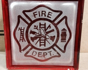 firefighters glass block