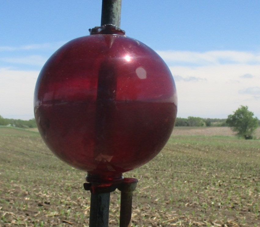 Lightning Rod Globes : Lightning rod ball vintage glass dark ruby red by