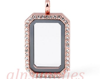 Magnetic Closure Rose Gold HERITAGE Floating Locket With Clear Crystal