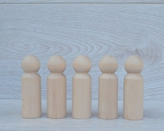 5 x Adult Male Wooden Peg Dolls. 9cm Tall